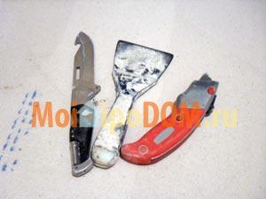 нож и шпатель незаменимы при ремонте квартиры