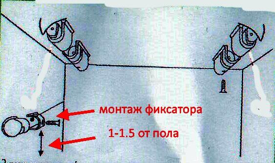 монтаж фиксатора потолочной сушилки