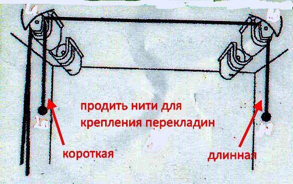 продеть нити для крепления перекладин потолочной сушилки